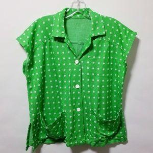 Vintage 70's green polka dot shirt top blouse